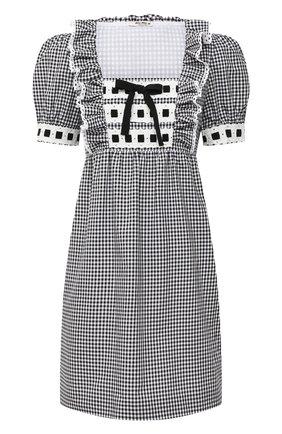 Женское хлопковое платье MIU MIU черного цвета, арт. MF3808-318-F0002 | Фото 1