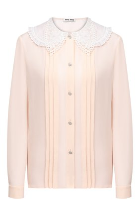 Женская шелковая блузка MIU MIU светло-бежевого цвета, арт. MK1478-1K9D-F0924   Фото 1