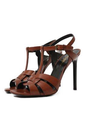 Женские кожаные босоножки tribute SAINT LAURENT коричневого цвета, арт. 620673/DWE00 | Фото 1