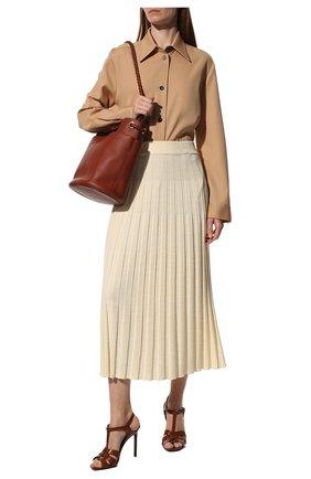 Женские кожаные босоножки tribute SAINT LAURENT коричневого цвета, арт. 620673/DWE00 | Фото 2