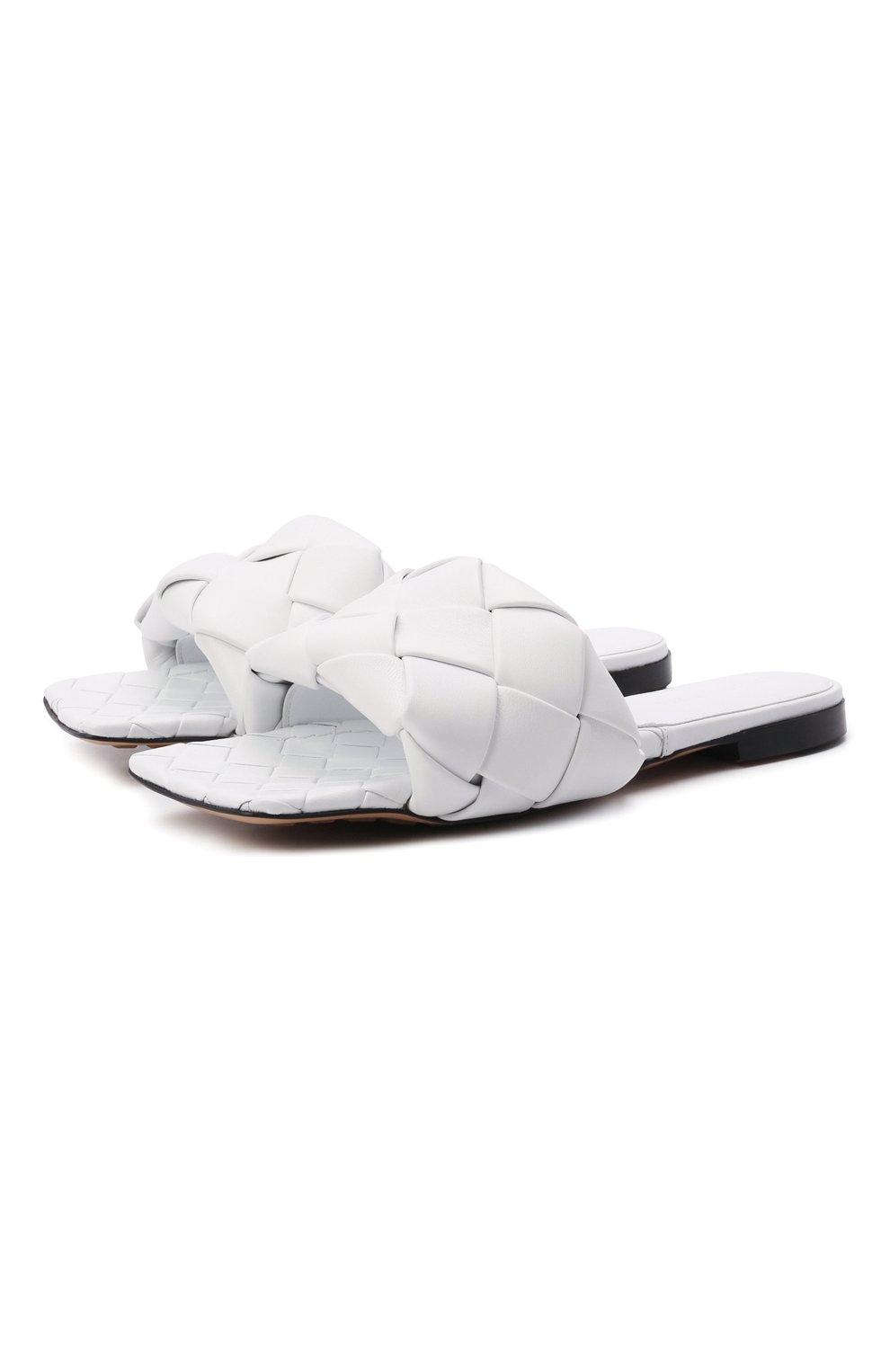 Женские кожаные шлепанцы lido BOTTEGA VENETA белого цвета, арт. 608853/VBSS0 | Фото 1
