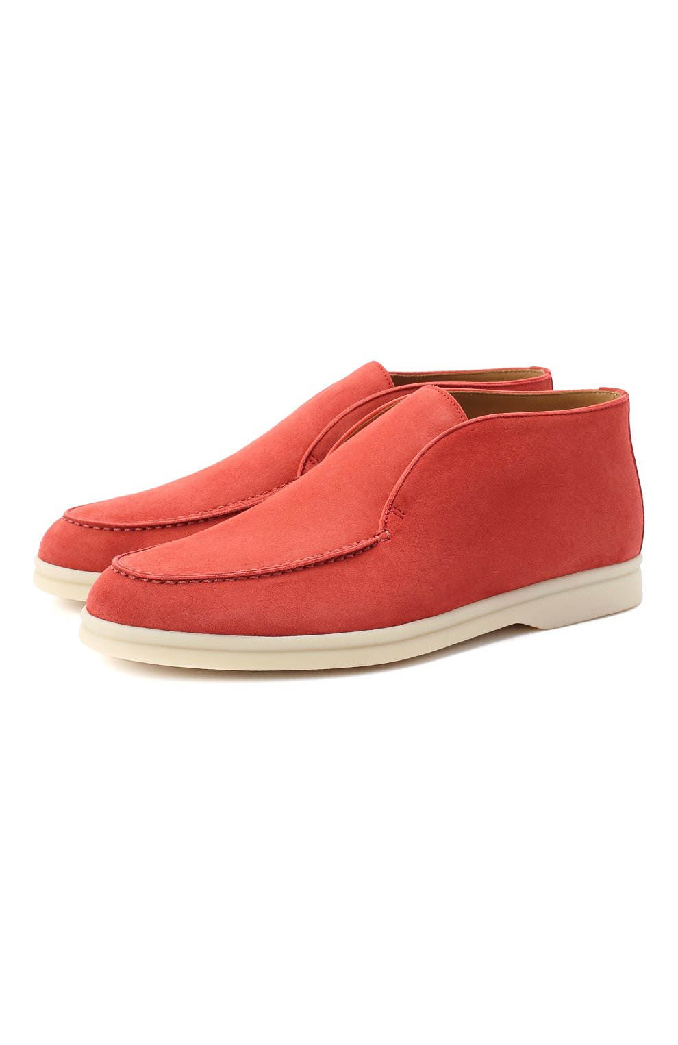 Женские замшевые ботинки open walk LORO PIANA кораллового цвета, арт. FAE9959 | Фото 1