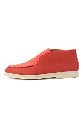 Женские замшевые ботинки open walk LORO PIANA кораллового цвета, арт. FAE9959 | Фото 3