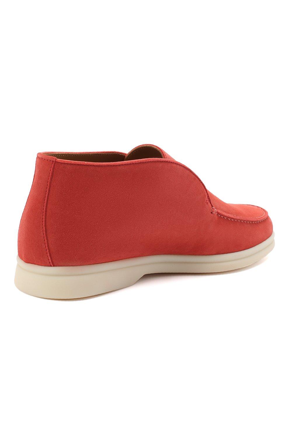 Женские замшевые ботинки open walk LORO PIANA кораллового цвета, арт. FAE9959 | Фото 4
