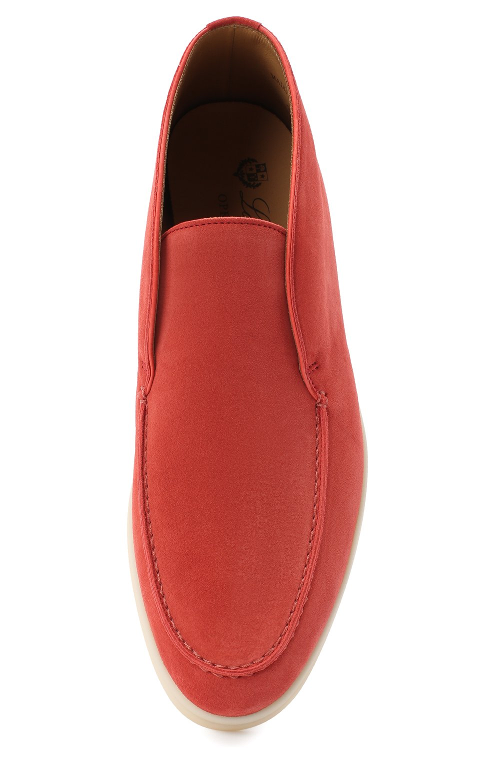Женские замшевые ботинки open walk LORO PIANA кораллового цвета, арт. FAE9959 | Фото 5