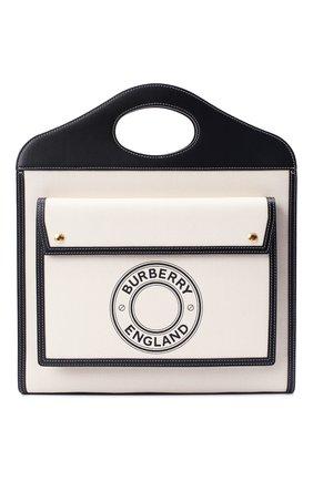 Женская сумка-тоут BURBERRY черно-белого цвета, арт. 8028041 | Фото 1