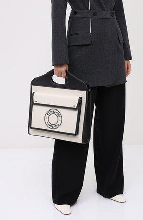 Женская сумка-тоут BURBERRY черно-белого цвета, арт. 8028041 | Фото 2