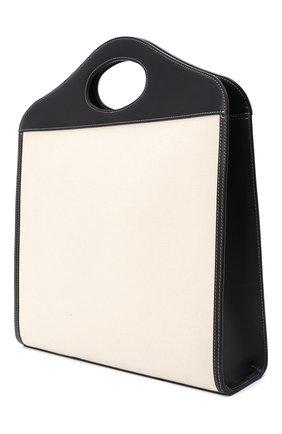 Женская сумка-тоут BURBERRY черно-белого цвета, арт. 8028041 | Фото 3