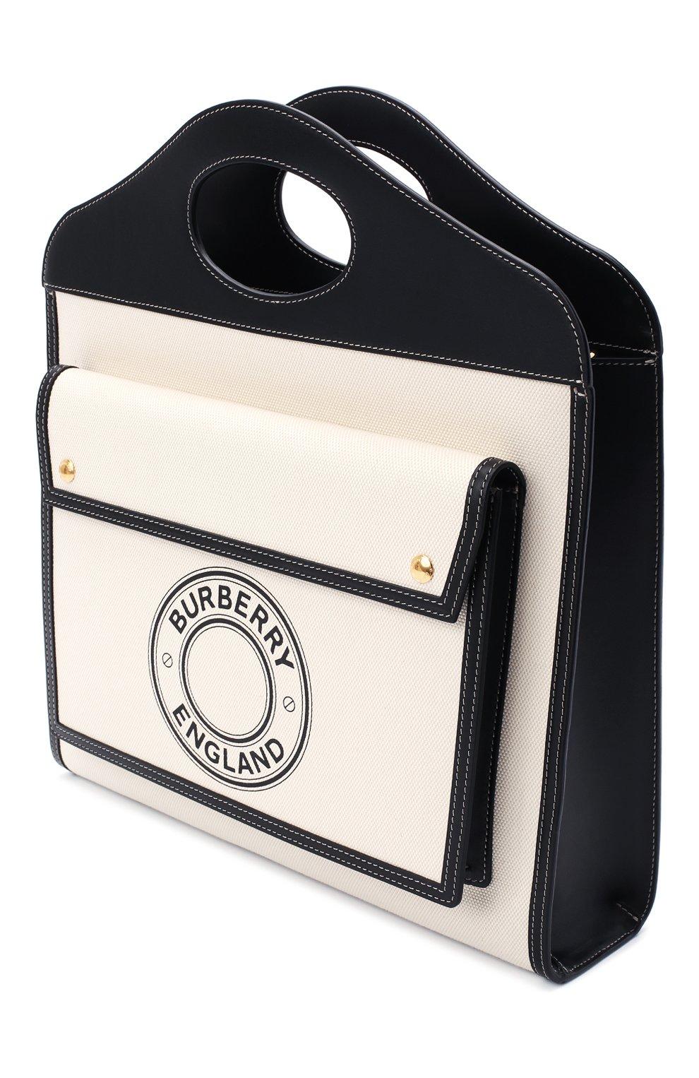 Женская сумка-тоут BURBERRY черно-белого цвета, арт. 8028041 | Фото 4