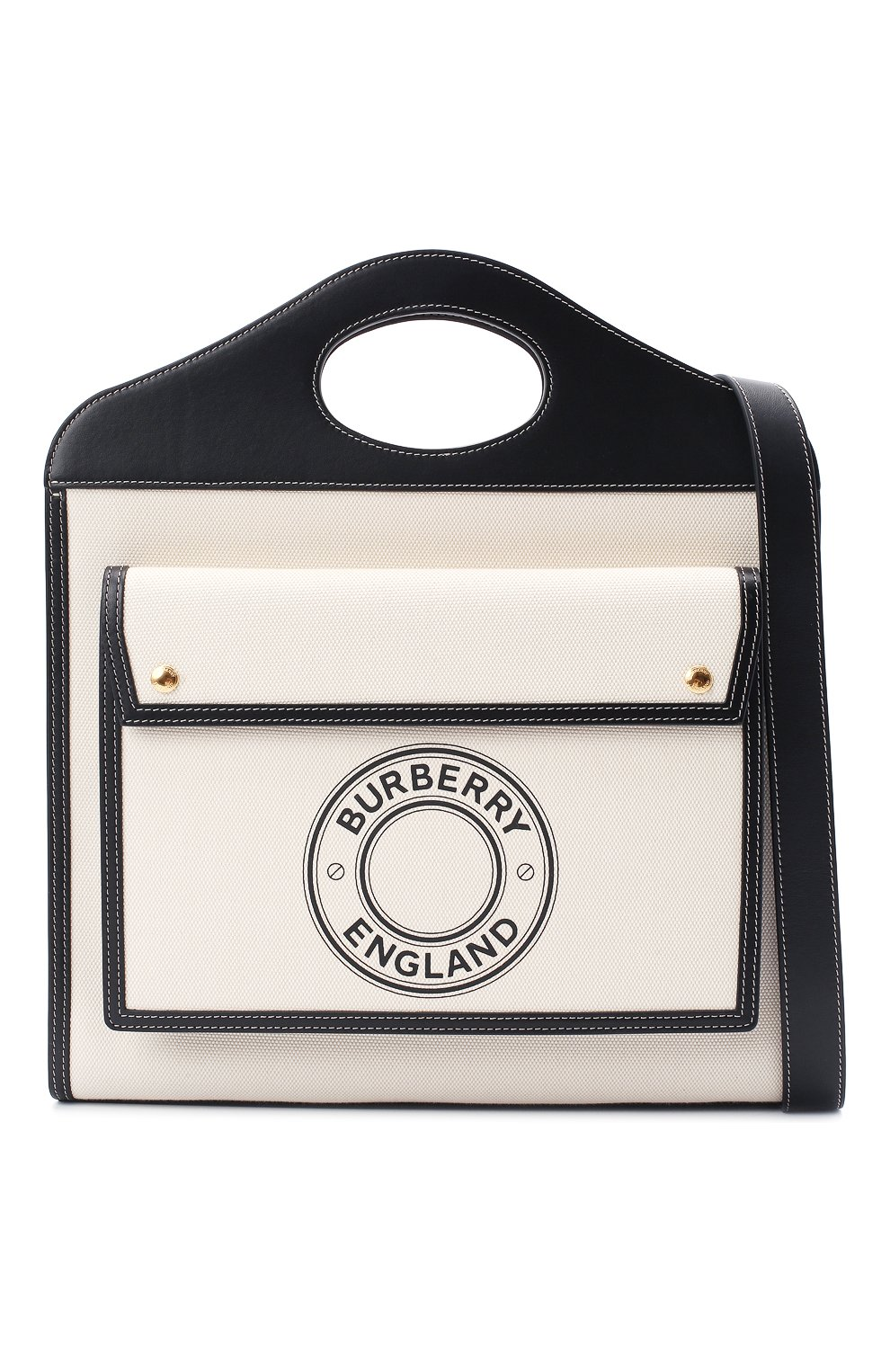 Женская сумка-тоут BURBERRY черно-белого цвета, арт. 8028041 | Фото 5
