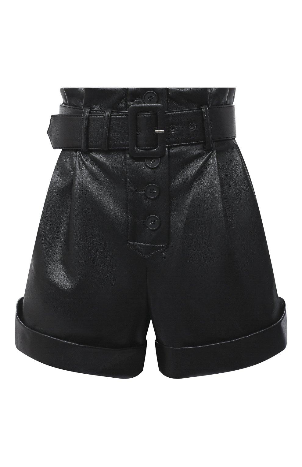 Женские шорты с поясом SELF-PORTRAIT черного цвета, арт. PF20-135   Фото 1 (Женское Кросс-КТ: Шорты-одежда; Длина Ж (юбки, платья, шорты): Мини; Материал внешний: Синтетический материал; Материал подклада: Синтетический материал; Стили: Кэжуэл)