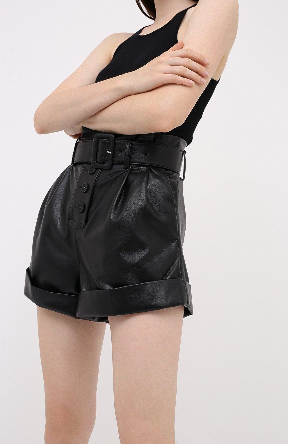 Женские шорты с поясом SELF-PORTRAIT черного цвета, арт. PF20-135   Фото 3 (Женское Кросс-КТ: Шорты-одежда; Длина Ж (юбки, платья, шорты): Мини; Материал внешний: Синтетический материал; Материал подклада: Синтетический материал; Стили: Кэжуэл)