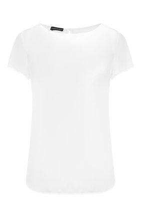 Женский шелковый топ EMPORIO ARMANI белого цвета, арт. 9NC05T/92306 | Фото 1