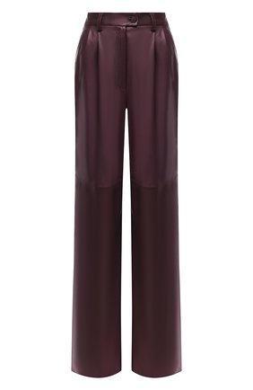 Женские кожаные брюки MASLOV бордового цвета, арт. BR101   Фото 1