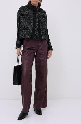 Женские кожаные брюки MASLOV бордового цвета, арт. BR101   Фото 2