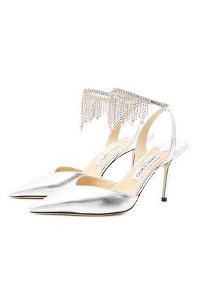 Женская кожаные туфли birtie 85 JIMMY CHOO серебряного цвета, арт. BIRTIE 85/DRU | Фото 1