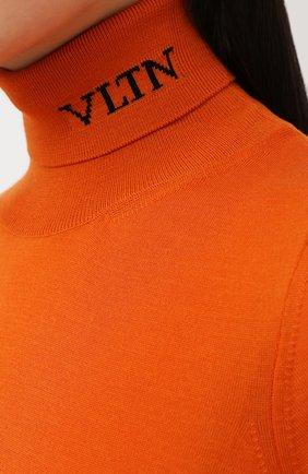 Женский шерстяной пуловер VALENTINO оранжевого цвета, арт. UB3KC16F5NU | Фото 5