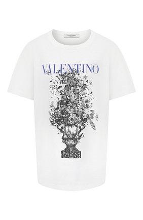 Женская хлопковая футболка VALENTINO белого цвета, арт. UB3MG08X5UE | Фото 1