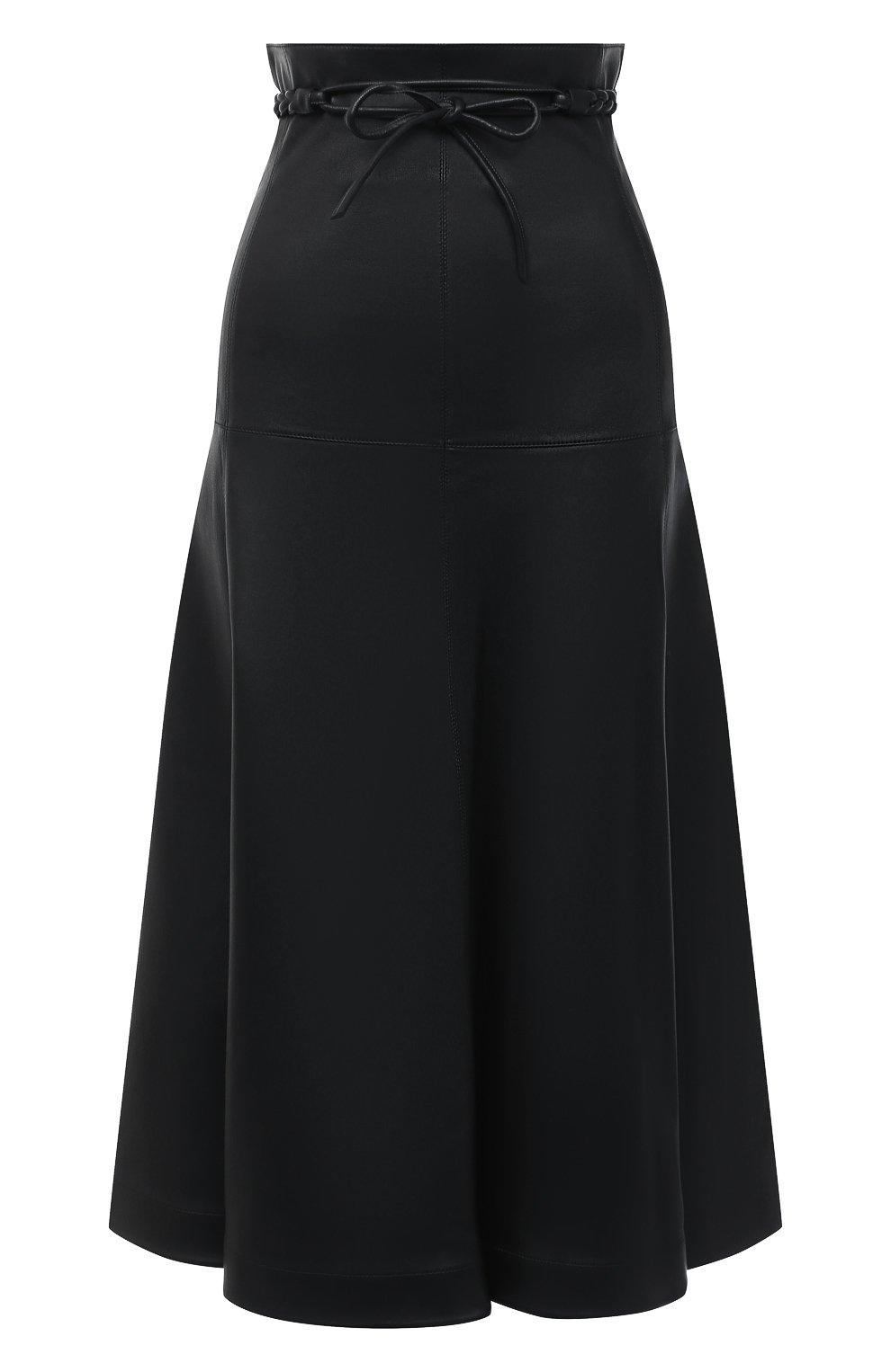 Женская кожаная юбка VALENTINO черного цвета, арт. UB3NI07I4N2   Фото 1