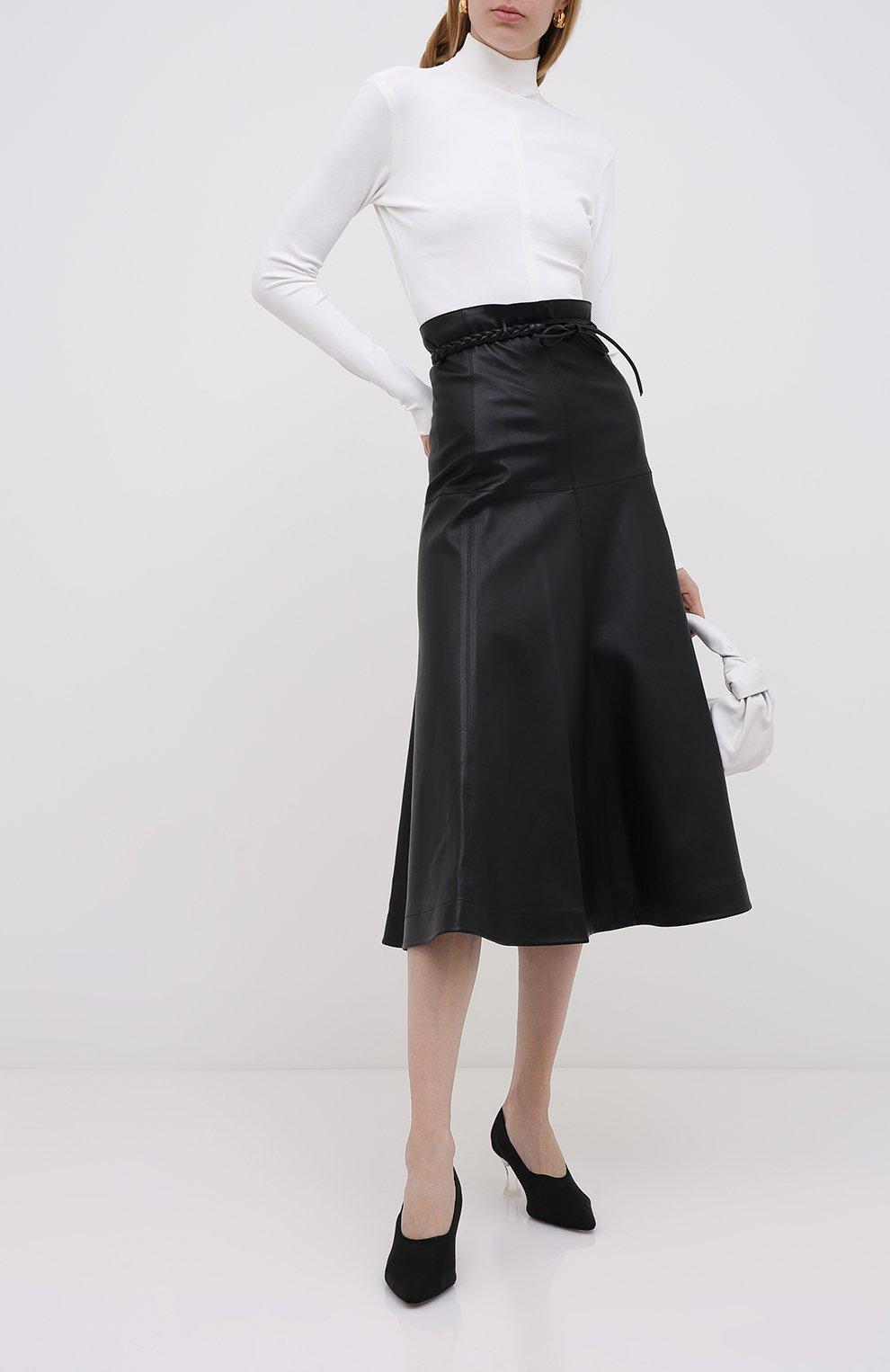 Женская кожаная юбка VALENTINO черного цвета, арт. UB3NI07I4N2   Фото 2