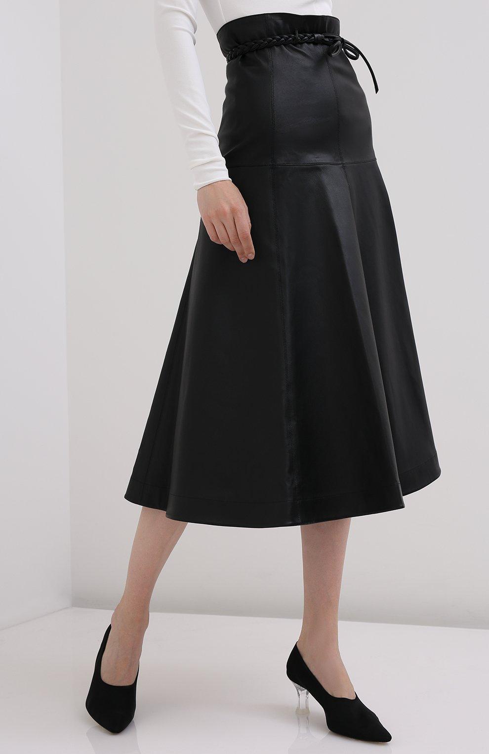 Женская кожаная юбка VALENTINO черного цвета, арт. UB3NI07I4N2   Фото 3