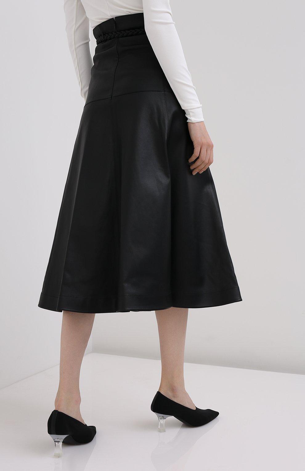 Женская кожаная юбка VALENTINO черного цвета, арт. UB3NI07I4N2   Фото 4