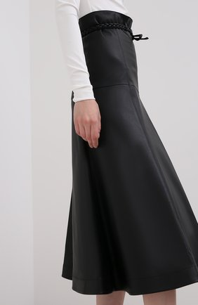 Женская кожаная юбка VALENTINO черного цвета, арт. UB3NI07I4N2   Фото 5