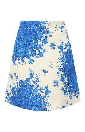 Женская юбка из шерсти и шелка VALENTINO голубого цвета, арт. UB3RA6M55LT | Фото 1