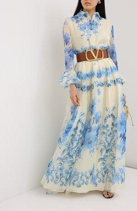 Женское шелковое платье VALENTINO голубого цвета, арт. UB3VDB155LU   Фото 2