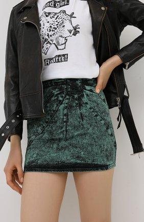 Женская джинсовая юбка REDVALENTINO зеленого цвета, арт. UR3DD02S/58V | Фото 3