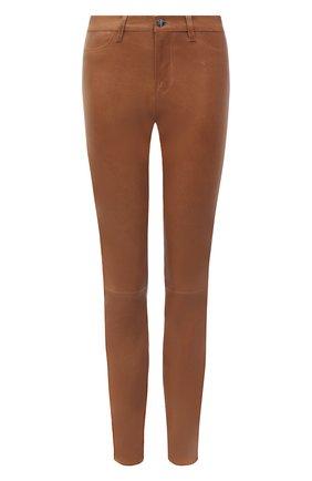 Женские кожаные брюки J BRAND коричневого цвета, арт. L8001/G | Фото 1