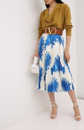 Женская шелковая юбка VALENTINO голубого цвета, арт. UB3RA6F55LL | Фото 2
