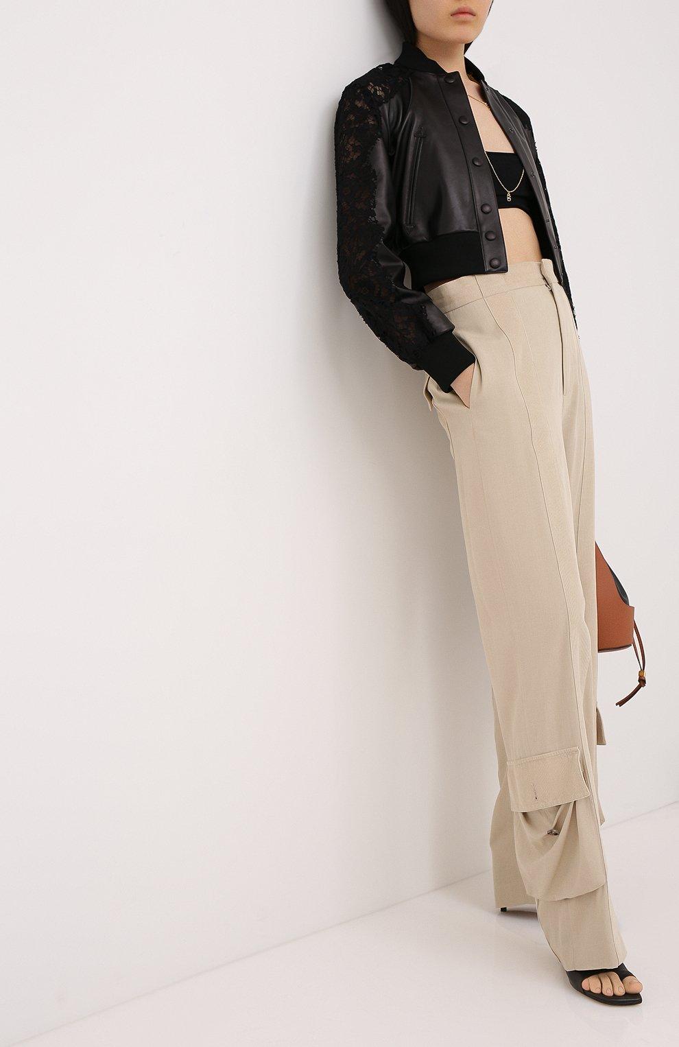 Женский кожаный бомбер VALENTINO черного цвета, арт. UB3NA05R1Y9   Фото 2