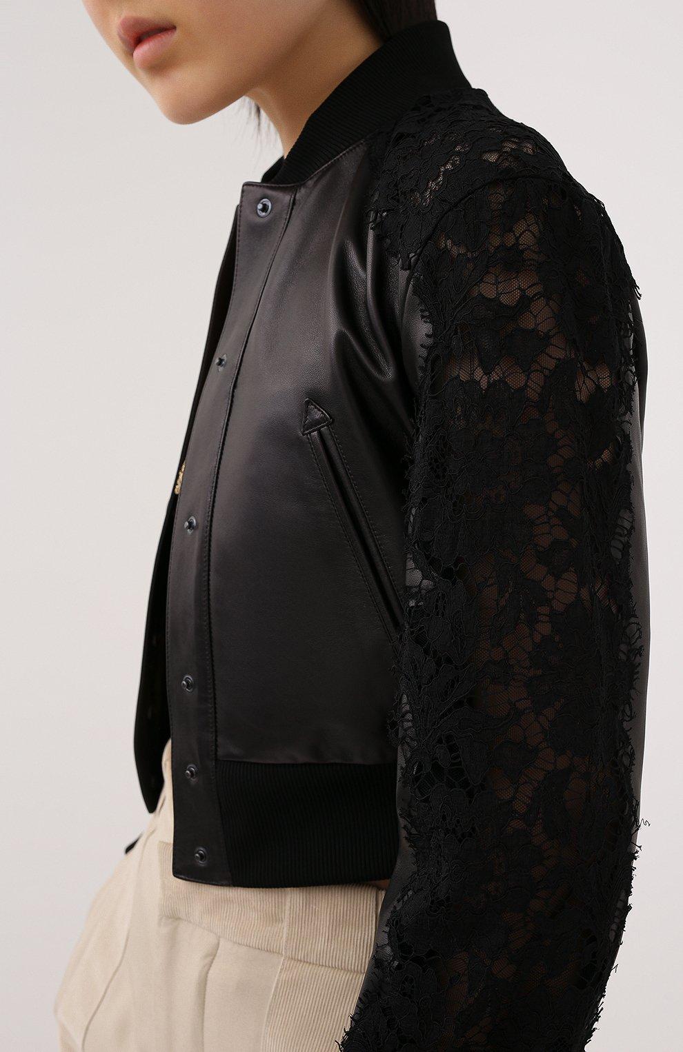 Женский кожаный бомбер VALENTINO черного цвета, арт. UB3NA05R1Y9   Фото 3