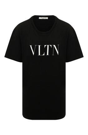 Женская хлопковая футболка VALENTINO черно-белого цвета, арт. UB3MG07D3V6 | Фото 1