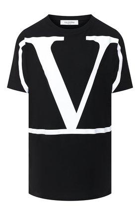 Женская хлопковая футболка VALENTINO черно-белого цвета, арт. UB3MG01Z4Q6 | Фото 1