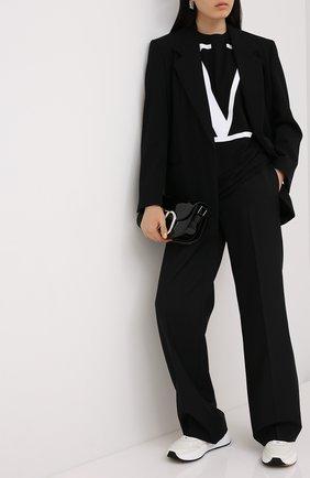 Женская хлопковая футболка VALENTINO черно-белого цвета, арт. UB3MG01Z4Q6 | Фото 2