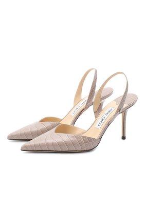 Женская кожаные туфли thandi 85 JIMMY CHOO бежевого цвета, арт. THANDI 85/CCL | Фото 1