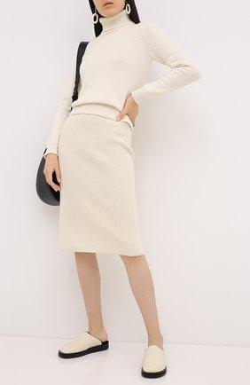 Женская кашемировая юбка LORO PIANA кремвого цвета, арт. FAL2871 | Фото 2