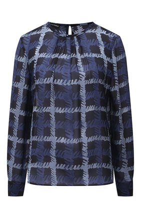 Женская шелковая блузка EMPORIO ARMANI синего цвета, арт. 9NK12T/92509   Фото 1