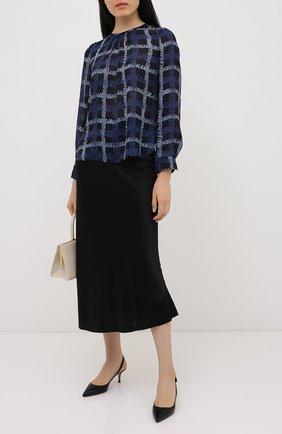 Женская шелковая блузка EMPORIO ARMANI синего цвета, арт. 9NK12T/92509   Фото 2