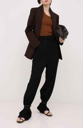 Женские брюки из вискозы и шерсти RICK OWENS черного цвета, арт. RP20F2311/WE   Фото 2
