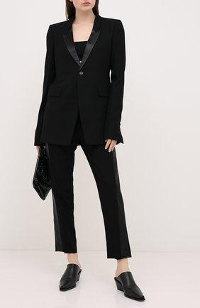 Женские брюки из шерсти и вискозы RICK OWENS черного цвета, арт. RP20F2304/WEQLX   Фото 2