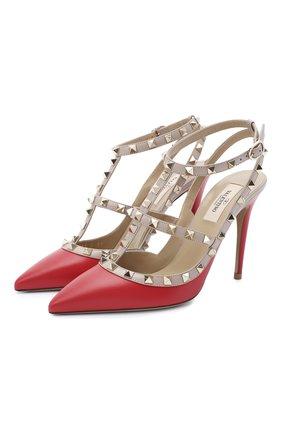 Женская кожаные туфли valentino garavani rockstud VALENTINO красного цвета, арт. UW2S0393/V0D | Фото 1