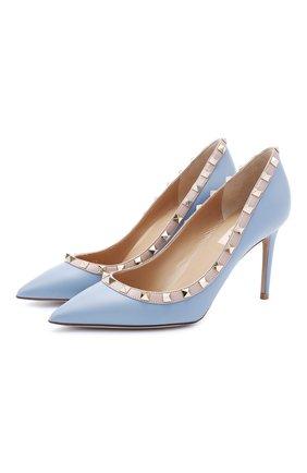 Женские кожаные туфли rockstud VALENTINO голубого цвета, арт. UW2S0A04/V0D | Фото 1