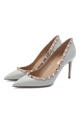 Женская кожаные туфли valentino garavani rockstud VALENTINO серого цвета, арт. UW2S0A04/V0D | Фото 1