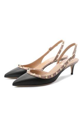 Женские кожаные туфли rockstud VALENTINO черного цвета, арт. UW2S0H14/V0D | Фото 1