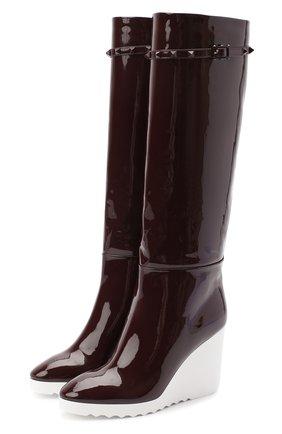 Женские кожаные сапоги valentino garavani rockstud VALENTINO бордового цвета, арт. UW2S0Z61/NUD | Фото 1