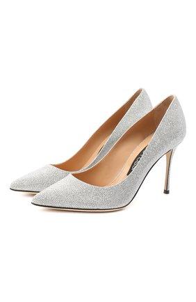 Женская текстильные туфли godiva SERGIO ROSSI серебряного цвета, арт. A43843-MTEL26 | Фото 1