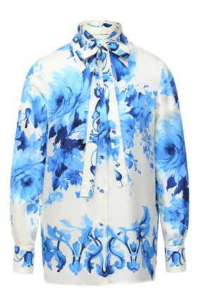 Женская шелковая блузка VALENTINO голубого цвета, арт. UB3AB18S5LV   Фото 1